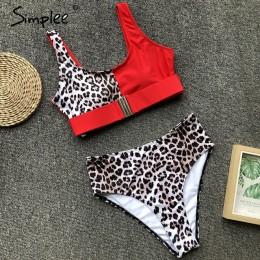 Simplee Sexy leopard print kobiety stroje kąpielowe strój kąpielowy Push-up sztuk body lato plaża na co dzień wysokiej talii str