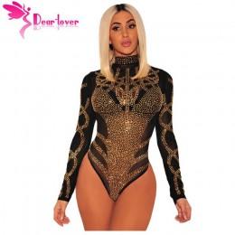 Drogi Lover Sexy pajacyki 2018 kobiety Bodycon Clubwear czarny złoty Rhinestone Faux gorset siatki długie rękawy Skinny body LC3