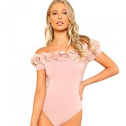 SHEIN Sexy body różowy z krótkim rękawem w połowie talii Party Wear Skinny body kwiat aplikacja Off the Shoulder body