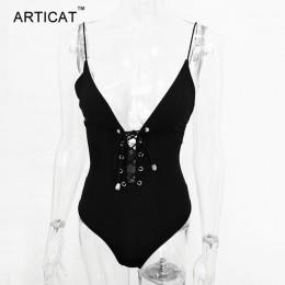 Arctic cat Sexy body wiązane kobiety lato topy Spaghetti pasek V Neck Backless pajacyki kobiet kombinezon Party Bodycon kombinez