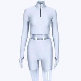 Hugcitar z długim rękawem na zamek wysokiej szyi elastyczne sexy crop topy szorty 2-sztuk 2018 lato jesień kobiety moda na co dz