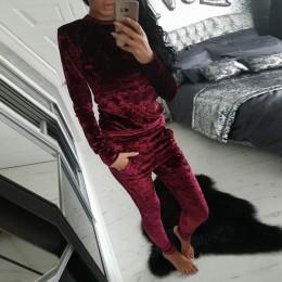LUO SHA 3XL 6 kolor aksamitna dres kobiety kostium aksamit zestaw z długim rękawem Top + spodnie welurowy dres zestawy dla kobie