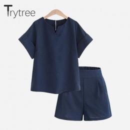 Wypróbuj drzewo wiosna lato damski zestaw dwuczęściowy na co dzień bawełniane topy + krótkie Soild kobiet biuro plus rozmiar kom