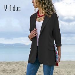 Slim Blazers kobiety jesień garnitur kurtka praca kobiet damski garnitur oficjalny czarny żaden przycisk biznes z wycięciem Blaz