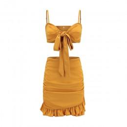 Panie Spaghetti pasek kryzy sukienka tuba bez rękawów muszka dwuczęściowy zestaw solidna sukienka kobiety Mini klub sukienka na
