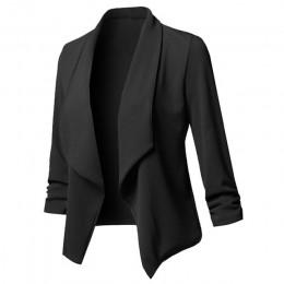 Kobiety stałe Blazers sweter płaszcz z długim rękawem kobiety blezery i kurtki Ruched asymetryczne na co dzień garnitur znosić 2