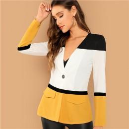 SHEIN Multicolor urząd Lady Colorblock cięcia i szycia jednego przycisku Blazer 2018 jesień elegancka odzież robocza damska płas