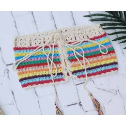 Modny dwuczęściowy strój kąpielowy damski szydełkowy hand made ręcznie tkany z frędzelkami na plażę na wakacje