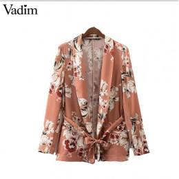 Vadim kobiety w stylu vintage blezer z kwiatowym nadrukiem ścięty collar sashes płaszcz z długim rękawem codzienna odzież wierzc