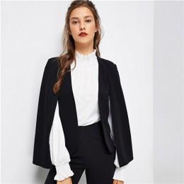 SHEIN czarny Poncho urząd Lady Streetwear płaszcz otwarta przednia Blazer 2018 jesień eleganckie nowoczesne Lady odzież robocza