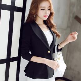 Panie Blazers nowy modny z jednym guzikiem Blazer kobiety garnitur kurtka czarny/niebieski/różowy marynarka kobiet Plus Size Bla