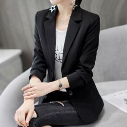 Formalne pani urząd Blazers kobiety czarny biały Slim Fit z długim rękawem garnitur kurtka jesień zima płaszcz moda garnitury ca