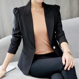 Sprężyna wysokiej jakości jesień kobiet marynarka elegancki moda urząd Lady Blazers płaszcz garnitury kobiet jeden przycisk kurt