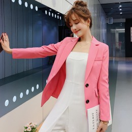 PEONFLY Blazer Feminino kobiet kurtka oficjalna pojedyncze piersi niebieski kobiety biurowy garnitur moda damska garnitur jednol