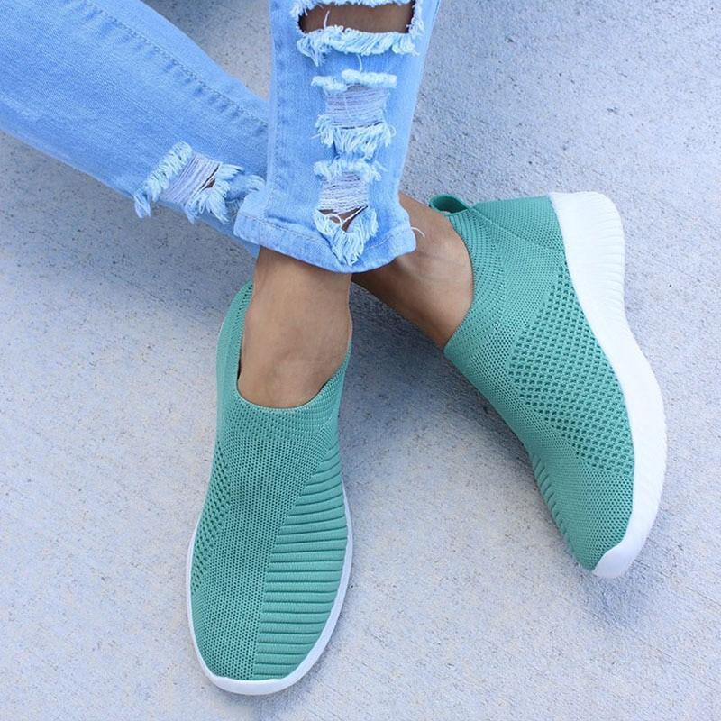 Damskie trampki płaskie Knitting wiosna damskie buty 2019 nowy Plus rozmiar kobiet siatka wulkanizowane damskie wsuwane buty odd