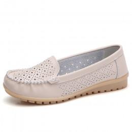 STQ 2019 wiosna kobiety mieszkania buty kobiet prawdziwej skóry buty kobieta wycinanka mokasyny wsuwane płaskie baletki baleriny