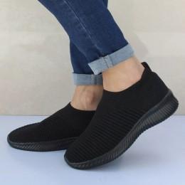 Plus Size buty damskie na co dzień drutach skarpety trampki Stretch płaskie damskie wsuwane buty buty kobieta wypoczynek mieszka