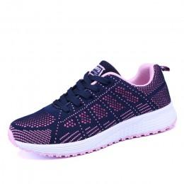 Wiosna damskie buty mieszkania pani moda na co dzień oddychająca trampki Mesh buty do biegania sportowe damskie płaskie platform
