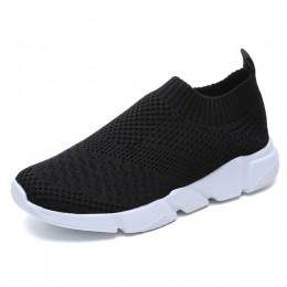 Damskie buty 2019 nowy Flyknit trampki kobiety oddychające Slip On płaskie buty miękkie dno białe trampki na co dzień kobiety mi