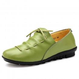 Damskie buty 2018 nowy przyjazd wiosna lace-up plisowana płaskie buty ze skóry naturalnej buty kobieta guma party buty damskie t
