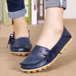 Kobiety mieszkania kobiety prawdziwej skóry buty wkładane mokasyny kobieta miękkie pielęgniarka balerinki Plus rozmiar 34-44 na