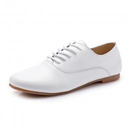 STQ 2019 wiosna damskie buty typu oxford baleriny mieszkania buty kobiet prawdziwej skóry buty mokasyny wiązane mokasyny białe b