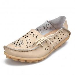 Damskie buty na co dzień, oryginalne, skórzane, damskie mokasyny Slip-On kobiece mieszkania mokasyny damskie buty jazdy wycięcia