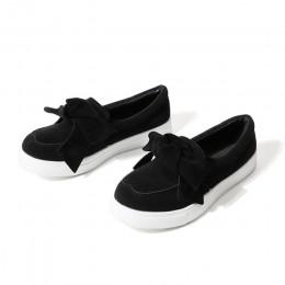 MCCKLE kobiety mokasyny Plus rozmiar platformy Slip On Bowtie płaskie buty do szycia na co dzień Bowknot buty dla kobiet stado m