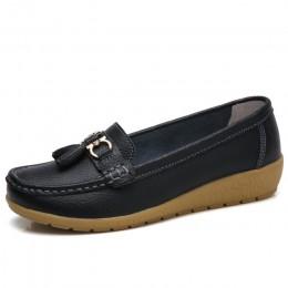 2018 moda kobiety prawdziwej skóry płaskie buty w stylu casual panie stałe trampki buty okrągłe toe szycia kobiety mieszkania bu