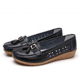Kobiety płaskie 2019 lato kobiety prawdziwej skóry buty Plus rozmiar 35-43 mokasyny damskie kwiatowy na co dzień płaskie buty sk
