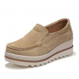 STQ 2019 wiosna kobiety mieszkania buty platformy trampki buty skórzane buty zamszowe na codzień płaskie buty wsuwane obcasy pną