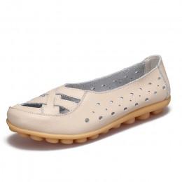Balet mieszkania 2018 kobiet prawdziwej skóry buty damskie miękkie dno Hollow out buty Slip on oddychające damskie buty mieszkan