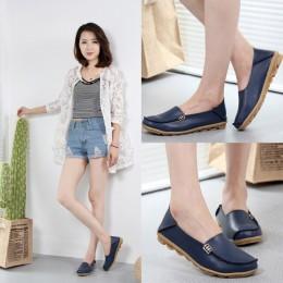 Damskie buty Plus Size płaskie buty damskie oryginalne skórzane mokasyny pielęgniarki Slip On kobiet płaskie Oxford Sapato Femin