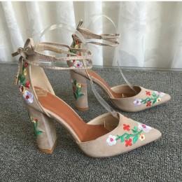 MCCKLE damskie buty na wysokim obcasie Plus rozmiar haftu pompy kwiat pasek stawu skokowego buty kobiet dwuczęściowy Sexy Party