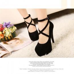 Hot moda nowe buty na wysokim obcasie kobieta pompy wedding szpilki platformy moda damskie buty wysokie obcasy 11 cm suede czarn