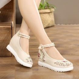 Kobiety płótno wysokość zwiększenie pasek na kostkę wiosna jesień buty chiny styl w stylu Vintage haftuje kliny obcasy pani buty