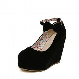 MCCKLE damskie buty na wysokim obcasie buty Plus rozmiar buty na koturnie kobiet pompy eleganckie stado klamra Bowtie kostki pas