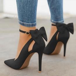 Damskie buty na wysokim obcasie marki pompy damskie buty Pointed Toe klamra pasek motyl lato Sexy szpilki buty ślubne Plus rozmi