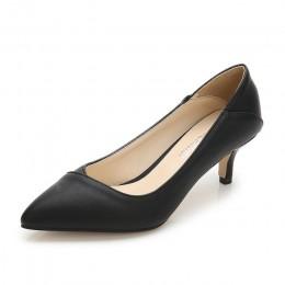 MAIERNISI Pointed Toe kobiety pompy skóry biuro i kariera damskie buty cienkie obcasy szpilki duży rozmiar 36-45 codzienne buty