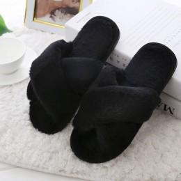 COOTELILI zimowe damskie pantofle domowe z Faux futro moda ciepłe buty kobieta płaskie buty wsuwane kobiece slajdy czarny różowy