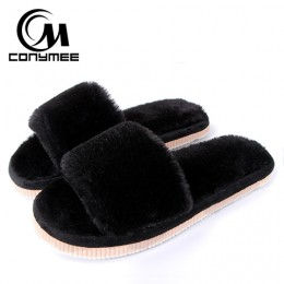 2018 kobiet Kapcie futrzane zimowe buty duży rozmiar pantofel domu pluszowe Pantufa kobiety kryte ciepłe puszyste Terlik but baw