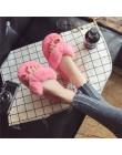 COOTELILI moda zima damskie pantofle domowe Faux futro ciepłe buty kobieta płaskie buty wsuwane kobiet futro klapki japonki różo