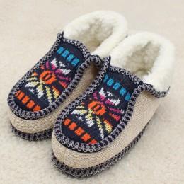 Kamień VILLAGE zimowe ciepłe klapki pluszowe druku dzianiny kapcie domu miękkie dno bawełna kobiety klapki buty wewnętrzne kobie