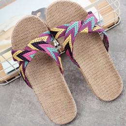 LCIZRONG lato 13 kolorów lnu pantofle domowe damskie 35-45 duży rozmiar uderzając plaży klapki japonki antypoślizgowe Unisex rod