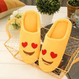 Buty damskie pantofle miękkie aksamitne kryty piętro wyrażenie trampki śliczne Emoji domu buty miękkie dno zimowe ciepłe buty do