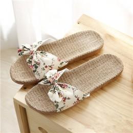 Suihyung nowe kobiety letnie klapki plażowe oddychająca pościel klapki japonki kobiece na co dzień lniane kapcie sandały kwiatow