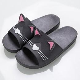 Modne domowe kapcie damskie oryginalne w koty z wystającymi uszkami letnie basenowe wodoodporne gumowe klapki