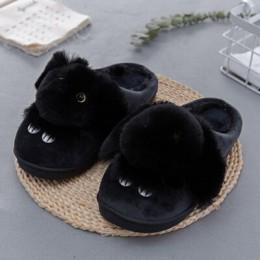 Wysokiej jakości klapki damskie piękny królik zwierząt drukuje stałe płaskie buty wewnętrzne zima pluszowe ciepłe kapcie rozmiar