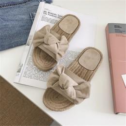 Vertvie 2019 kobiet kapcie Bowknot Lady różowy pantofel płaskie sandały na lato letnie wakacje na plaży na co dzień buty wewnętr
