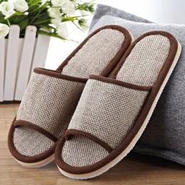 Naturalny len pantofle domowe kapcie domowe ciche pot kapcie na lato kobiety sandały kapcie 37-43